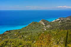 Panorama of blue waters of Ionian sea, Lefkada, Greece Royalty Free Stock Images