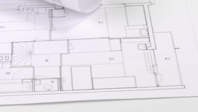 Panorama of blueprints and architecture objects stock video footage