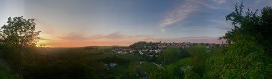 Panorama bluesky de coucher du soleil images libres de droits