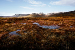 Panorama Bluestack góry w Donegal Irlandia z jeziorem w przodzie Fotografia Royalty Free