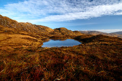 Panorama of the Bluestack Mountains in Donegal Ireland with a lake in the front Stock Photos