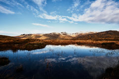 Panorama of the Bluestack Mountains in Donegal Ireland with a lake in the front Royalty Free Stock Photos