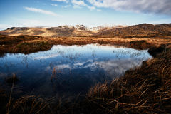 Panorama of the Bluestack Mountains in Donegal Ireland with a lake in the front Royalty Free Stock Image