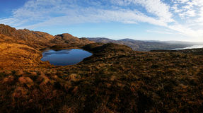 Panorama of the Bluestack Mountains in Donegal Ireland with a lake in the front Stock Photography
