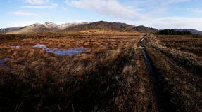 Panorama of the Bluestack Mountains in Donegal Ireland with a lake in the front Stock Images