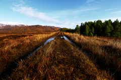 Panorama of the Bluestack Mountains in Donegal Ireland with a lake in the front Royalty Free Stock Images