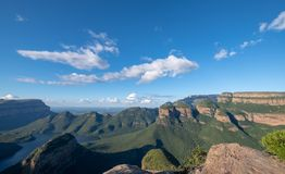 Panorama of the Blyde River Canyon on the Panorama Route, Mpumalanga, South Africa. View of the Blyde River Canyon also known as the Motlatse Canyon, on the stock images