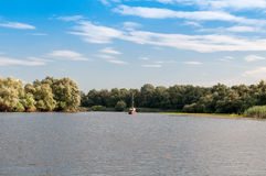 Panorama with boat at Delta Dunarii Royalty Free Stock Photo