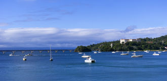 The panorama with boats near dominican shore Royalty Free Stock Photos