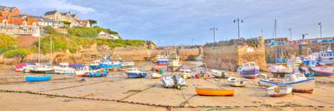 Panorama of boats in Newquay harbour North Cornwall England UK like a painting in HDR Royalty Free Stock Photos
