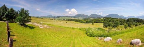 A panorama of Bobrovnik, Liptov, Slovakia. A summertime panorama of Bobrovnik, Liptov region, Slovakia. A green meadows, Chocske Hills and Rohace, part of stock photos