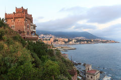 Panorama with Boccadasse castle, coast and Mediterranean Sea, Genoa Royalty Free Stock Photos