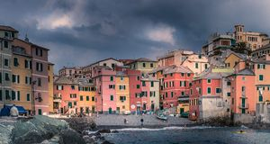Panorama Boccadasse. The harbour of the pittoresque town of Boccadasse Royalty Free Stock Image
