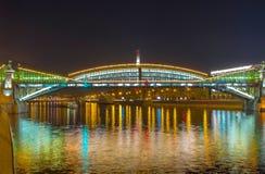 Panorama of Bohdan Khmelnytsky bridge Royalty Free Stock Images