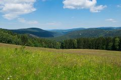 Panorama of Bohemian Forest. In the springtime stock photo