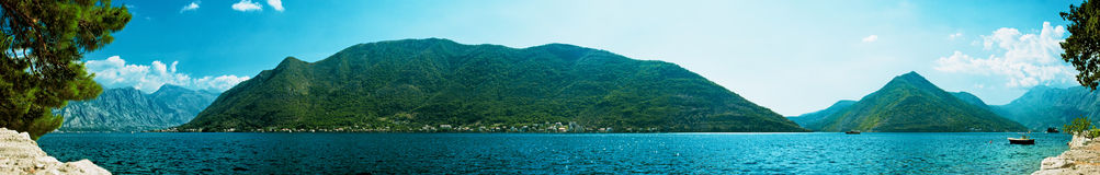 Panorama of Boka Kotor bay Royalty Free Stock Photos