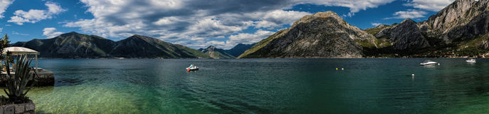 Panorama of Boka Kotorska bay in Montenegro Royalty Free Stock Images