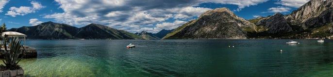 Panorama Boka Kotorska zatoka w Montenegro Obrazy Royalty Free