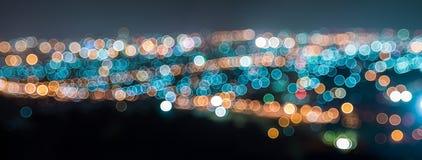 Panorama bokeh of city at night Stock Photos