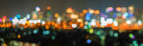 Panorama bokeh and defocus of cityscape at night Royalty Free Stock Photo