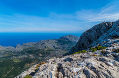 Panorama bonito das montanhas da GR 221 Tramuntana, Mallorca, Espanha Imagens de Stock Royalty Free