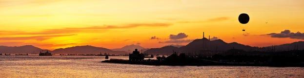 Panorama bonito do fulgor do por do sol Fotografia de Stock Royalty Free