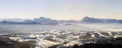 Panorama bonito do inverno com neve fresca Paisagem com abeto vermelho Fotografia de Stock Royalty Free