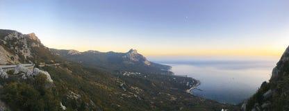 Panorama bonito do seascape do mar Composição da natureza em Crimeia fotos de stock