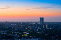 Panorama of Bonn after sunset Royalty Free Stock Photography