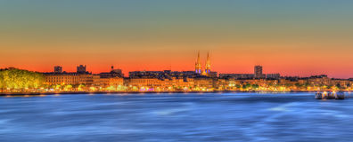 Panorama of Bordeaux and the Garonne river - France Stock Photography