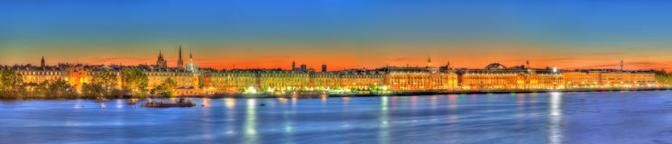 Panorama of Bordeaux and the Garonne river - France Royalty Free Stock Photography