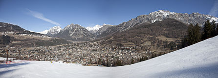 Panorama of Bormio town, Italy Stock Photo