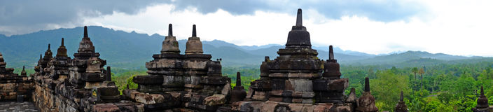 Panorama from Borobudur, 9th-century Buddhist Temple in Magelang Indonesia Royalty Free Stock Images