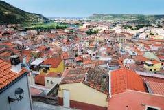 Panorama of Bosa, Italy. Royalty Free Stock Photography