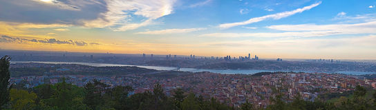 Panorama Bosphorus. HDR Bosphorus Panorama at Sunset Royalty Free Stock Images