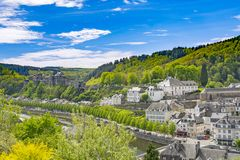 Bouillon village. Panorama of Bouillon & x28;Bouyon& x29; village and medieval castle in Belgium, province Luxembourg and river Semois Stock Photos