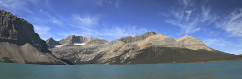 Panorama of Bow Lake Near Icefield Parkway Stock Image
