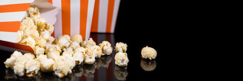 Panorama, box with popcorn with black background Stock Image
