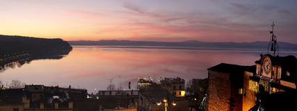 Panorama of Bracciano lake at  sunset Royalty Free Stock Image
