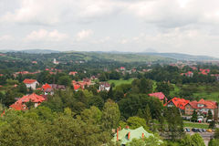 Panorama of bran city. Seen from the bran castle Stock Image