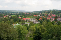 Panorama of bran city. Cityscape; panorama of bran city stock photo