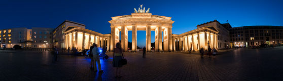 Panorama Brandenburg Gate at night V1 Royalty Free Stock Images