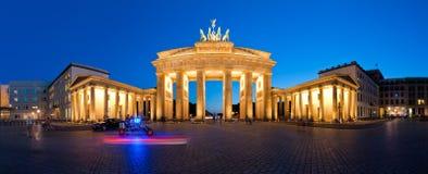 Panorama Brandenburg Gate at Night V2. Berlin Germany Panorama Brandenburg Gate at night Stock Image