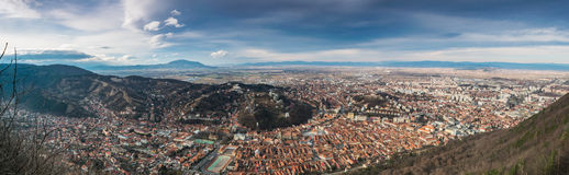 Panorama of Brasov City, Romania Stock Images