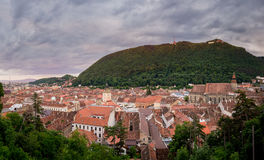 Panorama of Brasov with Tampa hill. Panorama of old Brasov with Tampa hill, the Black Church and Council House Royalty Free Stock Photos