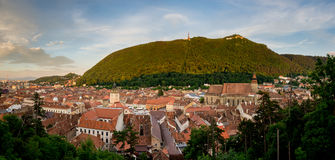 Panorama of Brasov with Tampa hill. Panorama of old Brasov with Tampa hill, the Black Church and Council House Royalty Free Stock Image