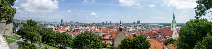 Panorama of Bratislava. View of the old town royalty free stock images