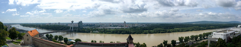 Panorama of Bratislava. View of the UFO stock photography