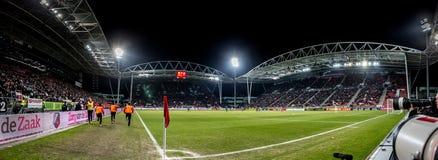 Panorama- bred överblickstadiongalgenwaard av FCet Utrecht Arkivbild