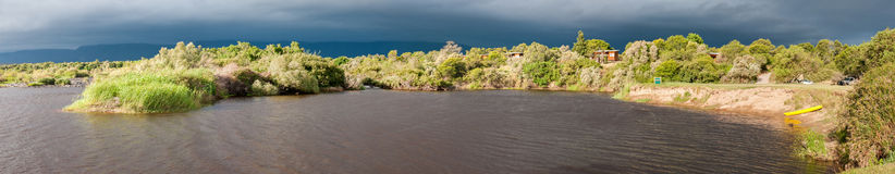 Panorama of Bree River at Lang Elsies Kraal restcamp Royalty Free Stock Image